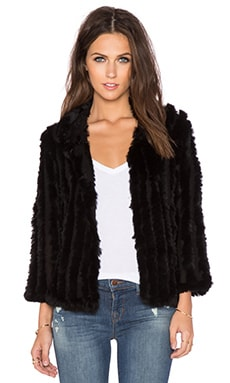 heartLoom Rosa Rabbit Fur Jacket in Black