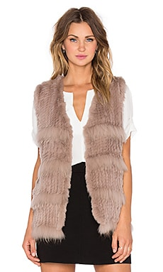heartLoom Denise Rabbit and Raccoon Fur Vest in Mushroom