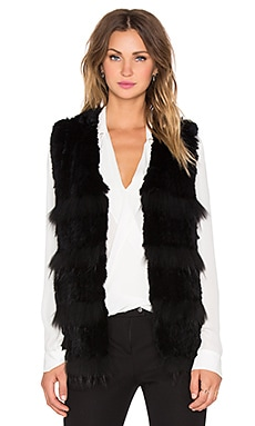 HEARTLOOM Denise Rabbit and Raccoon Fur Vest in Black