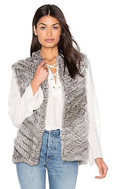 Seren Rabbit Fur Vest in Dove