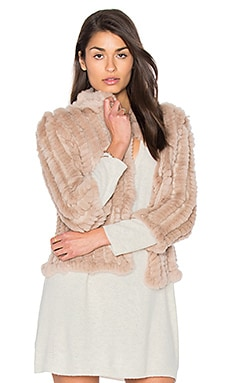 Rosa Rabbit Fur Jacket in Buff