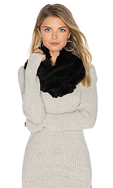 Robie Rabbit Fur Scarf in Black