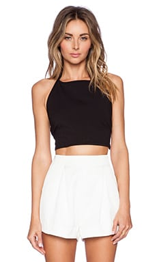 Helena Quinn Nicole Halter Crop Top in Black