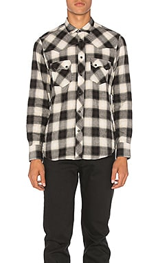 Western Snap Shadow Plaid Button Down in Black