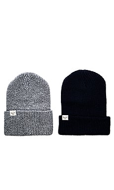 Herschel Supply Co. 2 Pack Quartz Beanie in Navy & Heathered Grey