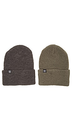 Herschel Supply Co. 2 Pack Quartz Beanie in Charcoal & Army
