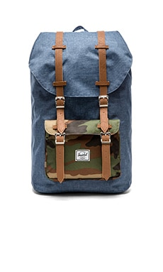 Herschel Supply Co. Little America in Navy Cross-Hatch & Woodland Camo