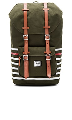 Little America in Forest Night Offset Stripe & Veggie Tan Leather
