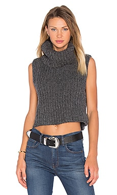 Zoe Sleeveless Turtleneck Sweater in Heather Grey
