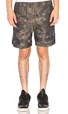 Helmut Lang Patch Pocket Track Short in Olive Slate Multi