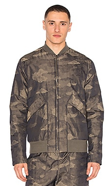 Helmut Lang Zip Up Bomber in Olive Slate Multi