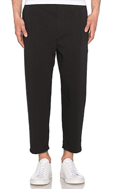 Helmut Lang Cropped Pleated Trouser in Black
