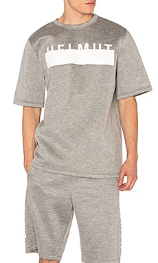 Helmut Lang Logo Oversized S/S Tee in Heather Grey