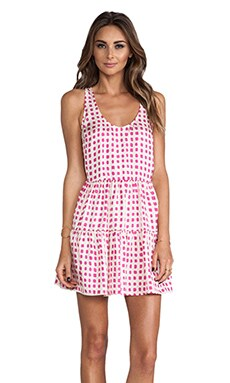 Tiered Mini Dress in Hot Pink Dot