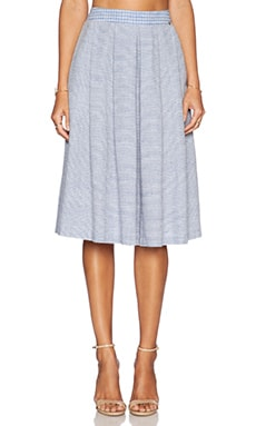 harlyn Midi Skirt in Stripe & Plaid