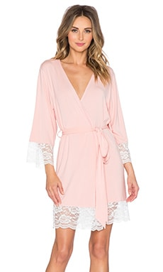 homebodii Lace Trime Robe in Blush