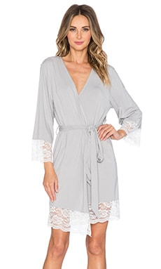 homebodii Bamboo Lace Trim Robe in Pumice