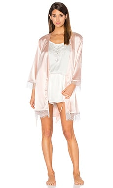 homebodii Mila Lace Trim Robe in Blush