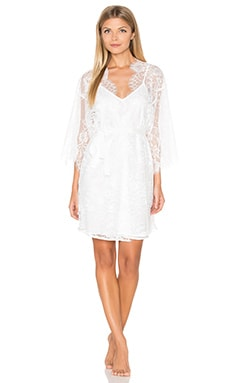homebodii Audrey Lace Robe with Slip in Ivory