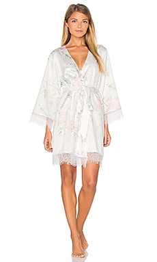 homebodii Sophia Lace Trim Robe in Floral