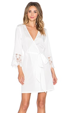 homebodii Grace Crochet Trim Robe in White