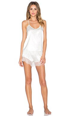 homebodii Alya Lace Trim Cami Set in White
