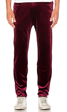Homme Boy Straight Training Pant in Maroon Velvet