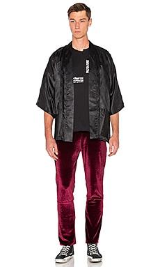 Homme Boy Kimono in Black Paisley