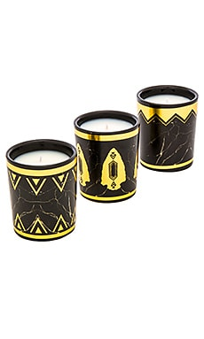 House of Harlow Set Of 3 Candle Gift Set in Black Howlite