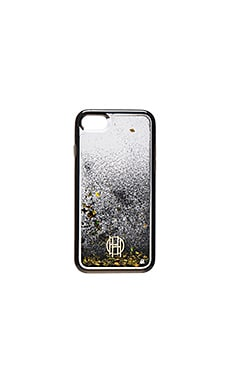 Liquid Glitter iPhone 7 Case en Clear, Black & Gold Foil