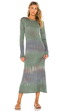 x REVOLVE Tie Dye Long Sleeve Knotted Midi Dress House of Harlow 1960 $158