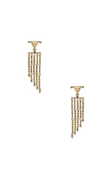 House of Harlow Tres Tri Fringe Earring in Gold