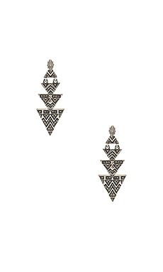 House of Harlow Pave Tribal Triangle Earring in Silver