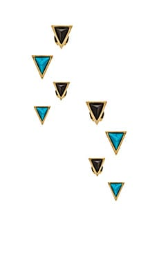 House of Harlow Meteora Stud Set in Gold & Turquoise & Black