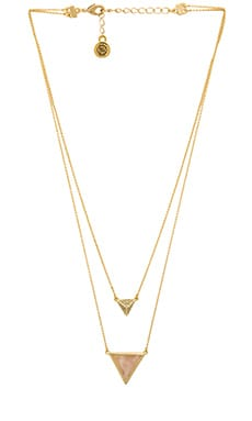 House of Harlow Temple Pave Necklace in Gold & Rose Quartz