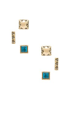 House of Harlow Plateau Earring Set in Gold & Turquoise
