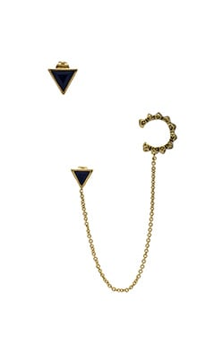 House of Harlow Native Legend Earring in Gold & Lapis