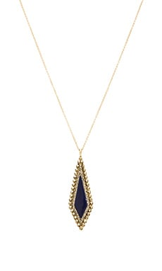 House of Harlow Native Legend Pendant Necklace in Gold & Lapis & Grey