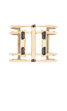 House of Harlow Defined Deco Cuff in Gold & Hematite Pave