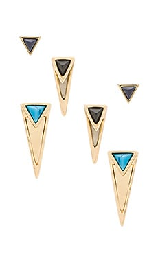House of Harlow Triangle Triad Stud Set in Black & Pearl & Turquoise