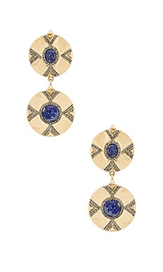 House of Harlow Dorelia Double Coin Earring in Gold & Lapis