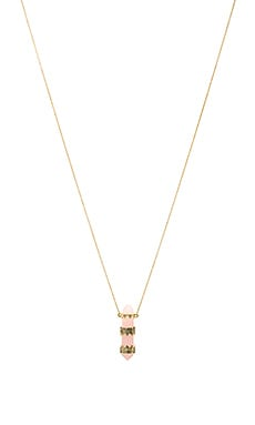 House of Harlow Prana Pendant Necklace in Gold & Rose Quartz