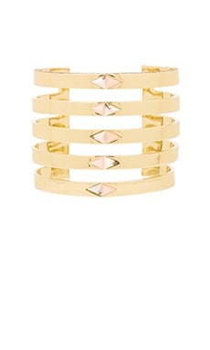House of Harlow The Flip Side Statement Cuff in Gold & Rose Quartz