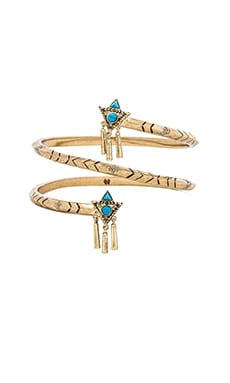 House of Harlow Tribal Spiral Arm Cuff in Gold & Turquoise