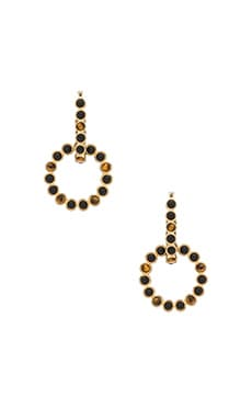 House of Harlow The Vivianne Day To Night Earrings in Gold & Tiger's Eye