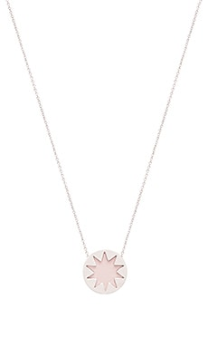 House of Harlow Mini Starburst Pendant Necklace in Silver & Nude Pink
