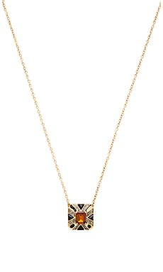 House of Harlow Art Deco Pendant Necklace in Gold & Topaz