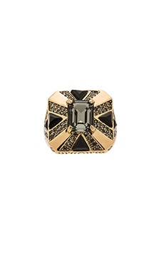 Art Deco Ring en Couleur Or & Gris