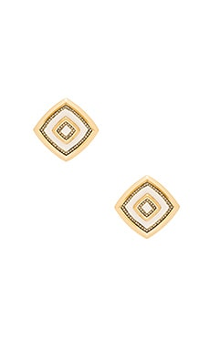House of Harlow Lady of the Lake Button Earring en Doré & Blanc
