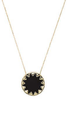 House of Harlow Sunburst Pyramid Pendant Necklace in Black